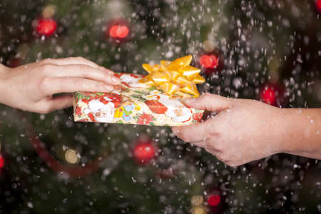 suddenness: Gift delivery  between a man and a woman under snowfall in front of Cristmas tree