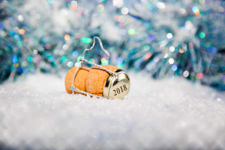 New Years EveChampagne cork  in the snow new years 2018 Stock Photo