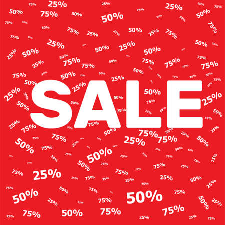Discount sale poster banner design template on a red background Stock Photo