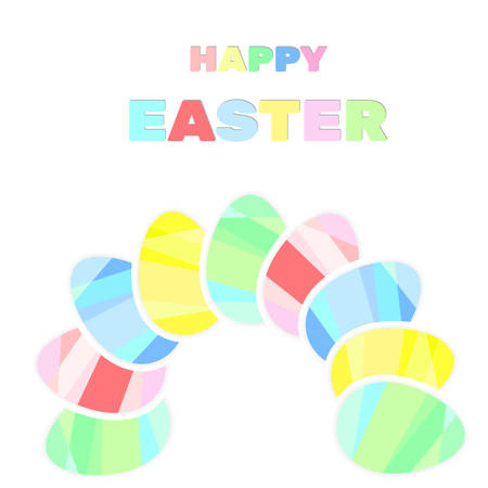 easter sign: Easter colored eggs, happy easter sign