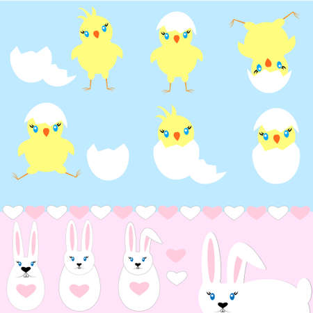 Set of easter bunny and chick hatched