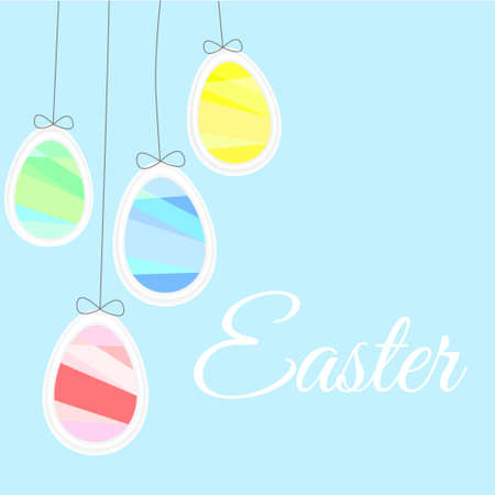 likes: Easter eggs likes balloons on a blue background