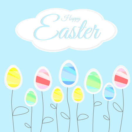 easter sign: Easter colored eggs - flowers, happy easter sign