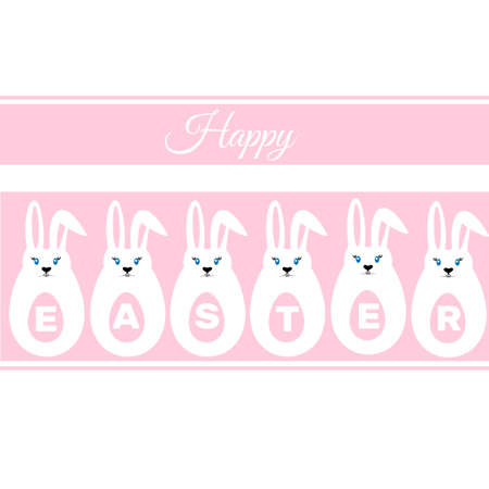 easter sign: Easter Eggs, Easter Bunny on a white background,  happy easter sign