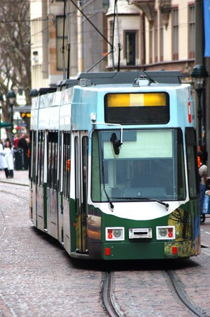 Tram in the downtown of Freiburg in Germany