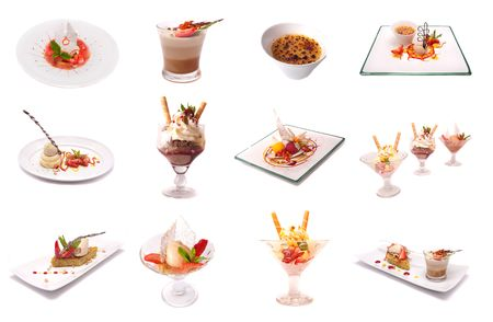 Gourmet desserts mix isolated Stock Photo