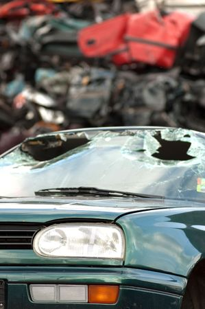 Junkyard with the pieces of destroyed cars Stock Photo - 5320761