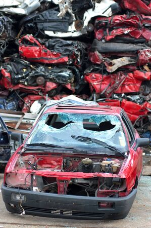 Junkyard with the pieces of destroyed cars