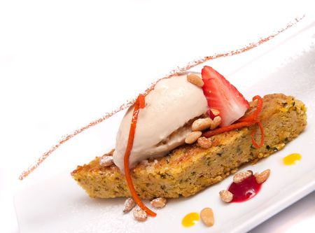Gourmet desserts on a plate isolated Stock Photo - 5875901
