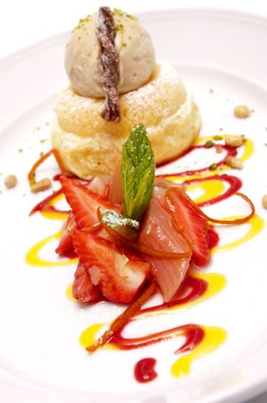 Gourmet desserts on a plate isolated Stock Photo