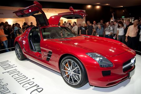 iaa: FRANKFURT - SEPTEMBER 20: The new Mercedes Benz SLS AMG sportcar on the 63rd IAA (Internationale Automobil Ausstellung) on September 20, 2009 in Frankfurt, Germany
