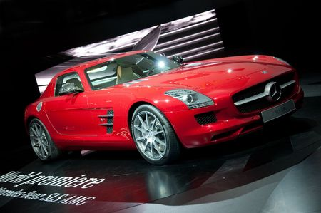 iaa: FRANKFURT - SEPTEMBER 20: New Mercedes Benz SLS AMG sportcar on the 63rd IAA (Internationale Automobil Ausstellung) on September 20 Editorial