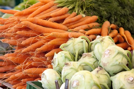 Fresh Carrot And Kohlrabi Cabbage At The Market photo