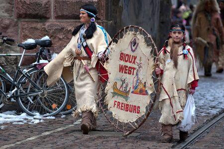 Freiburg, Germany - February 15 : Mask parade at the historical carnival on February 15, 2010 in Freiburg, Germany