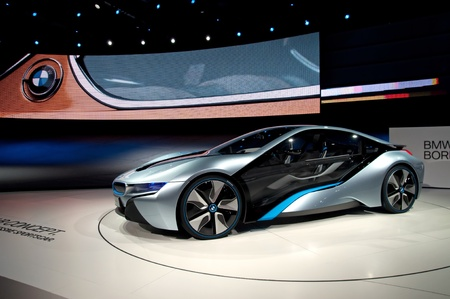 FRANKFURT - SEP 25:  BMW Concept car i8 shown at the 64th Internationale Automobil Ausstellung (IAA) on September 25, 2011 in Frankfurt, Germany. Stock Photo - 10753018