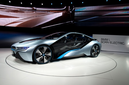 iaa: FRANKFURT - SEP 25:  BMW Concept car i8 shown at the 64th Internationale Automobil Ausstellung (IAA) on September 25, 2011 in Frankfurt, Germany.