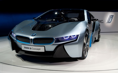 i3: FRANKFURT - SEP 25:  BMW Concept car i8 shown at the 64th Internationale Automobil Ausstellung (IAA) on September 25, 2011 in Frankfurt, Germany.