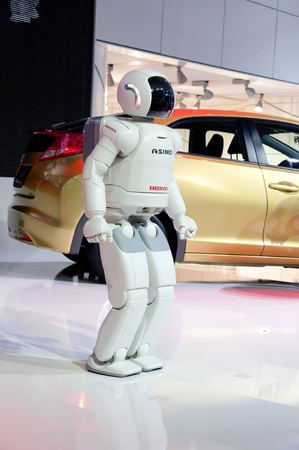FRANKFURT - SEP 25:   Asimo, The Super Intelligent Humanoid Robot From Honda presented at the 64th Internationale Automobil Ausstellung (IAA) on September 25, 2011 in Frankfurt, Germany.