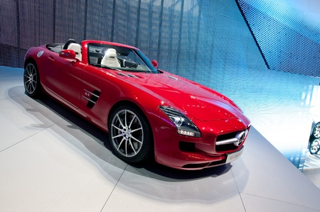 FRANKFURT - SEP 25:   Mercedes Benz SLS AMG Roadster presented at the 64th Internationale Automobil Ausstellung (IAA) on September 25, 2011 in Frankfurt, Germany. Stock Photo - 11045284