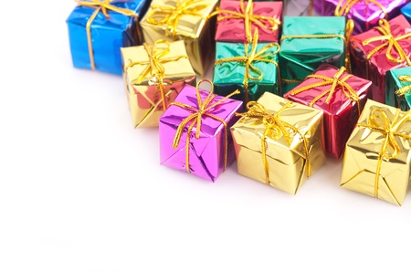 Collection of various gift wrapped presents, isolated on white background photo
