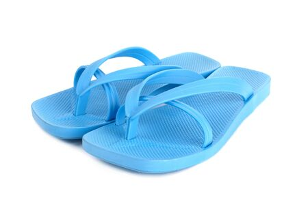flipflop: Pair of blue flip-flop sandals isolated on white