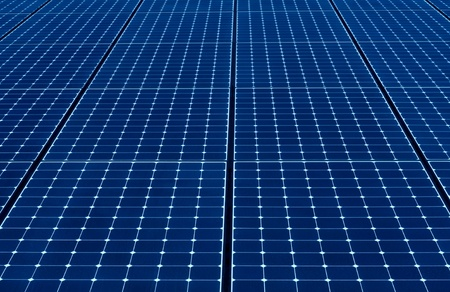 long endless row of blue solar panels to produce electricity Stock Photo - 12418905