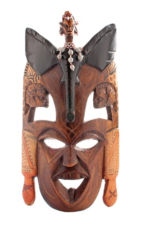 ilustraciones africanas: Máscara tribal africana utilizado en las ceremonias tradicionales aislados en blanco Foto de archivo