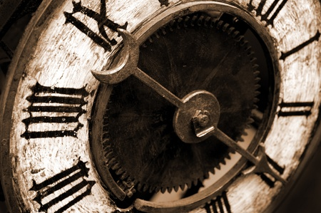 Old Antique Clock With Sepia Tone