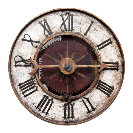 horloge ancienne: Vieille horloge antique isol� sur blanc