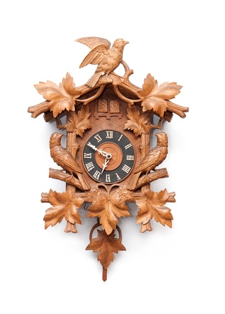 wood carving: Cuckoo Clock From The Black Forest, Germany Stock Photo