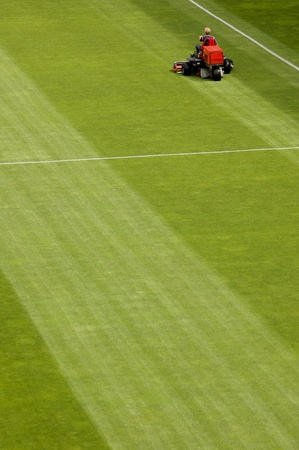 Mowing grass in a football stadium photo