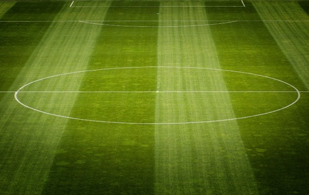Detail of Soccer Field Grass in a Stadium photo