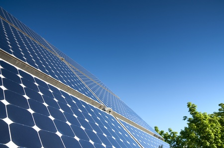 Solar Panel Against Blue Sky With Green Tree