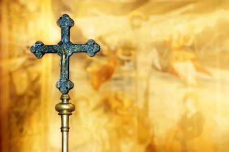 crucifiction: Two crosses in the church in Freiburg Stock Photo