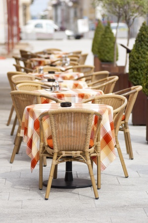 french cafe: Cafe Terrace on a sunny day in summer