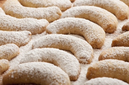 powdered sugar: Fresh Vanilla Cookies With Powdered Sugar For Christmas
