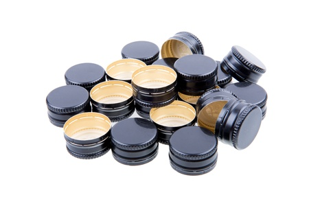 A Pile of Black Metal Screw Caps Isolated On White Background Stock Photo