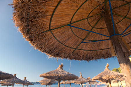 Beautiful Sandy Beach with Straw Umbrellas at Sunrise in Paguera, Majorca   Balearic Islands - Spain   photo