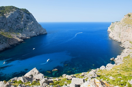 Beautiful Beach Bay Called Cala Figuera on Cape Formentor in Mallorca, Spain   Balearic Islands Stock Photo - 21824515