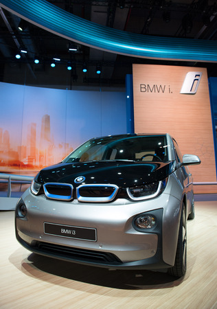 i3: FRANKFURT - SEPT 16  BMW i3 Plug-in-Electric Car shown at the 65th IAA  Internationale Automobil Ausstellung  on September 16, 2013 in Frankfurt, Germany
