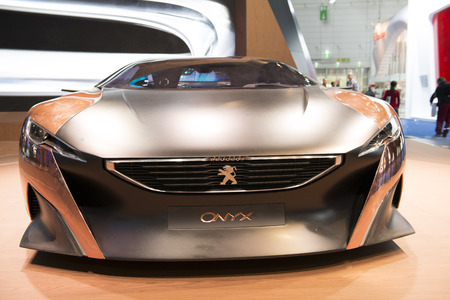FRANKFURT - SEPT 16  Peugeot Onyx Plug-in-Hybrid Concept Car shown at the 65th IAA  Internationale Automobil Ausstellung  on September 16, 2013 in Frankfurt, Germany