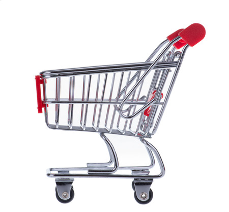A Shopping Cart Isolated On White photo