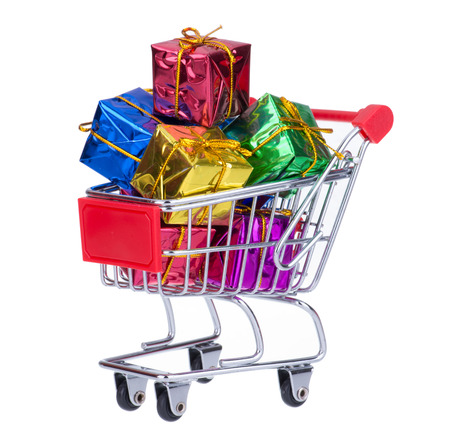 Shopping Cart With Colorful Gift Boxes  photo