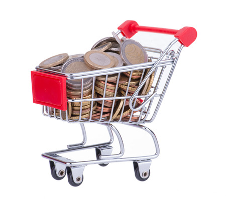 bargains: Shopping Cart Full With Euro Coins Isolated On White Stock Photo