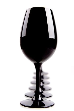 Black Wine Glasses For Blind Tasting Isolated On White photo