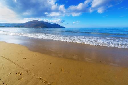 Sandy Beach  With Blue Sky In Georgioupolis, Island Crete, Greece Imagens