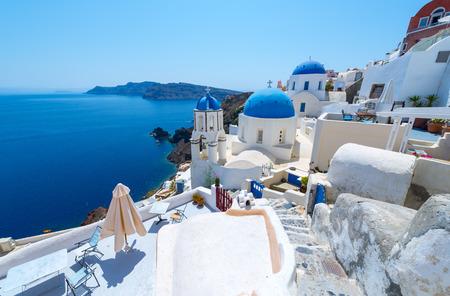 White architecture of Oia village on Santorini island, Greece Stok Fotoğraf