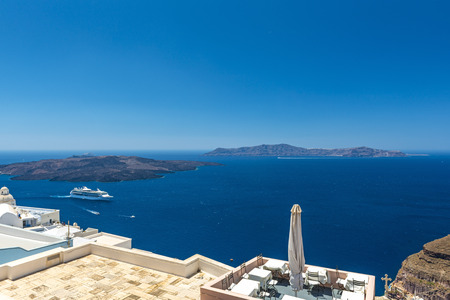 View Of The Santorini Caldera With Ship From Oia, Greece photo