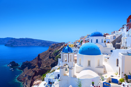 Beautiful Village of Oia in Santorini, Greece photo