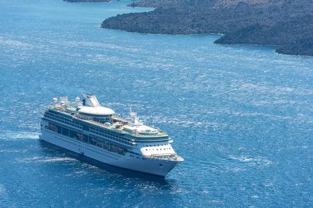 cruiser: Cruiser In The Ocean In Santorini, Greece Stock Photo